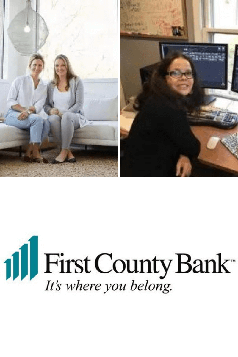 two of first county bank's female business owners and the fcb logo